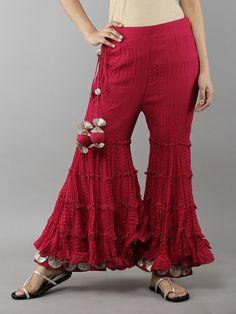 Wine Red Cotton Sharara with Gota Border