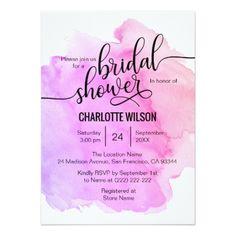 Watercolor Purple Pink Peach Wedding Bridal Shower Card - wedding invitations diy cyo special idea personalize card