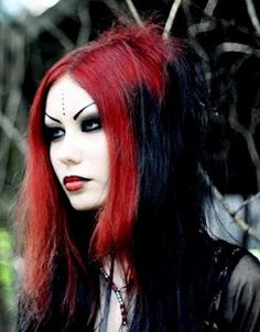 gothic hair red and black