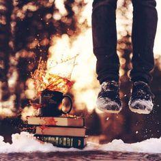 Coffee, books, and snow