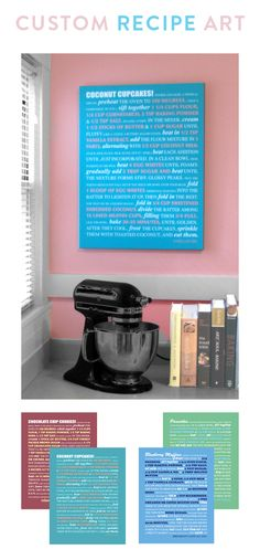 Love the idea of hanging a favorite recipe on the wall as decoration.  Now, which one . . . .