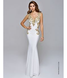 Dress is gold and white