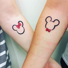 27 Disney Tattoos You'll Still Want, Even As An Adult To the tattoo studio… AND BEYOND! Related posts:Hakuna Matata Watercolor Inspired The Lion King Poster Lion King Print Simba Disney Gift Wall Art Couple Disney, Disney Couple Tattoos, Disney Tattoos Small, Small Tattoos, Tattoos For Guys, Disney Disney, Mickey Tattoo, Mickey And Minnie Tattoos, Diy Tattoo