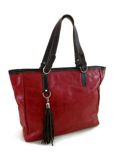 Beautiful Tassels by Natasa on Etsy Large Leather Tote Bag, Red Tote Bag,  Leather 529bf88399