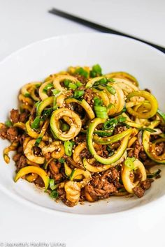 Chinese Five Spice Ground Turkey Zucchini Noodles - this is a low carb version of a popular Chinese noodle dish. Delicious and very satisfying!