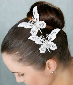 Off White Lace Butterfly Combs Butterfly by GildedShadows on Etsy, $66.00