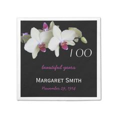 100th Birthday Party Orchid Paper Napkins Standard Cocktail Napkin A 100th birthday celebration is a very special once in a lifetime event. Commemorate your special event with personalized cocktail napkins complete with the name of your loved one and the birth date. These disposable napkins feature light yellow...read more