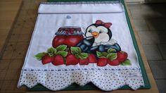 Pano de prato estilotex em pintura e aplicação, com tecidos 100% algodão.