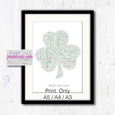 For The Craic Shamrock With Irish Sayings and Phrases by JumbleinkArt on Etsy Irish Sayings, Sayings And Phrases, Irish Quotes, Irish Art, Frame Sizes, Frame Shop, Word Art, Ireland, Handmade Items