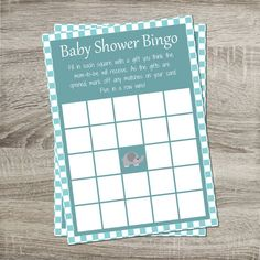 Baby Shower Bingo INSTANT DOWNLOAD DIY Blue on Blue with Gray Elephant Printable    http://www.etsy.com/shop/PurpleConfettiPapers
