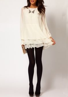 Creamy-white Cascading Ruffle Long Sleeve Dress