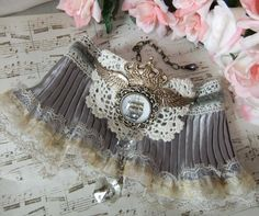 RESERVED for VANESSA Sail Away Steampunk Victorian por MockiDesigns Antique Chandelier, Sail Away, Embroidery Jewelry, Warm Grey, Cuffs, Steampunk, Wings, Chokers, Victorian