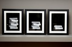 These interesting book photographs add a touch of drama and intrigue to any setting. Use them individually, or as a group, and place other contrasting items from my collection with them as well. For added impact, overlap the frames, mixing portrait and landscape styles.