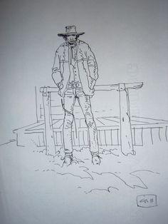 Blueberry par Jean Giraud - Illustration Jean Giraud, Moebius Art, Le Far West, French Artists, Wild West, Sketchbooks, Comic Art, Blueberry, Art Drawings