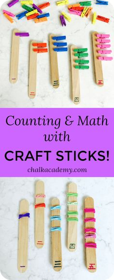 Counting & Math with Craft Sticks! Create your own math manipulatives and make your own counting sticks with craft sticks. This is a fun, hands-on way to learn with small objects around the house! Montessori Activities, Preschool Learning, Teaching Math, Kindergarten Math, Activities For Kids, Simple Math, Basic Math, Math For Kids, Fun Math