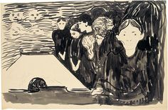 """""""Ved dødssengen""""1896   Tusj (pensel, lavering), svart fettstift,  Den uttrykksfulle tusjlaveringen """"Ved dødssengen"""" (1896) har søsteren Sophies død som motiv. Som i det mer kjente motivet """"Døden i sykeværelset"""" er også her den døende skjult for betrakteren. Oppmerksomheten rettes mot de gjenværende familiemedlemmene. Tegningen er utført med en rask og ledig strek. Farens foldede hender nærmest dirrer i fortvilelse. Sophies feberfantasier viser seg som maskelignende ånder på bakveggen."""