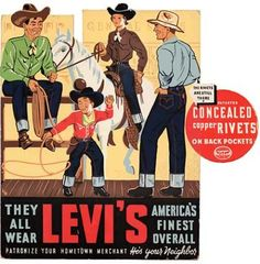 Original Vintage Pair of Levi's Jeans from 1937 An interesting historical item from my private denim archive is this pair: original. Levis Vintage, Pub Vintage, Vintage Signs, Vintage Style, 1950s Ads, Retro Ads, Vintage Advertisements, Vintage Prints, Vintage Posters