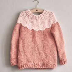 15 - Sweater with round yoke, knitted in Kos Daisy Pattern, Long Cardigan, Knitwear, My Design, Kids Outfits, Cardigans, Crochet Hats, How To Wear, Clothes