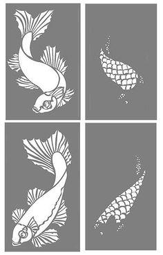 Fish Stencils Koi Carp Stencil Interior Design: