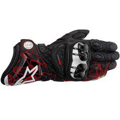 German wear gants de moto en cuir rouge//blanc