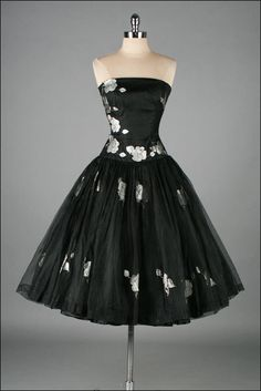 Vintage 1950s Dress  Metallic Floral  Black by millstreetvintage, $285.00