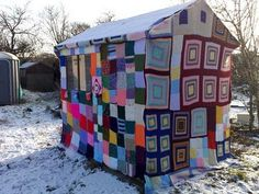 a shed jumper (that's a sweater for a shed). Here is the completed product
