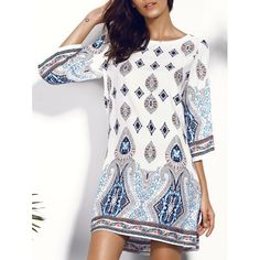Casual Women's Scoop Neck Floral Print Hollow Out Dress #shoes, #jewelry, #women, #men, #hats