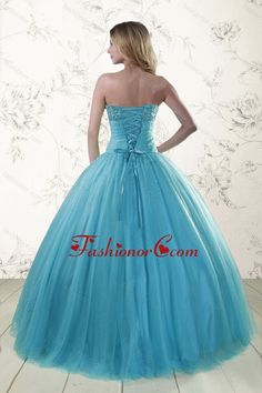 2015 New Style Sweetheart Blue Quinceanera Dresses with Appliques XFNAO592FOR