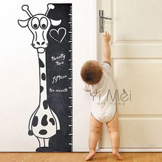 Cartoon Giraffe Height Ruler Line Growth Chart Background Sticker Wall Chalkboard Kids Nursery Room Classroom Daycare 40x110cm