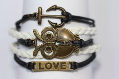 INSIGHTFUL Owl Bracelet Anchor Bracelet Love by ilovecheesygrits