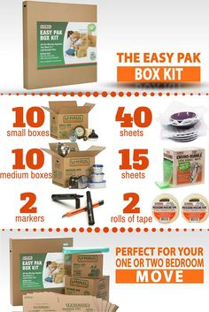 Packing has never been easier with this Easy Pak Box Kit! The kit comes with everything you would need to make your move from old home to new.This kit is recommended for moving one to two bedrooms, and comes with a bonus box and tape dispenser | Moving Supplies