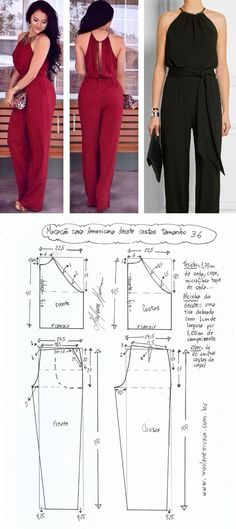Easy Sewing Patterns, Clothing Patterns, Dress Patterns, Sewing Pants, Sewing Clothes, Jumpsuit Pattern, Pants Pattern, Fashion Sewing, Diy Fashion
