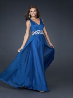 V-neck Front and Back neckline Beaded Waistband Chiffon Prom Dress PD1796 http://www.simpledresses.co.uk