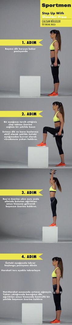 Üst bacak, kalça ve omuz çalıştıran Step Up with Shoulder Press egzersizi nasıl yapılır? #sportmen #fitness #stepup #shoulderpress #training #workout