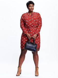Womens Plus Belted Shirt Dress