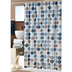 Pale-Blue-With-Circle-Pattern-Fabric-Shower-Curtain-and-Decorative-Hooks