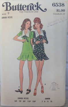vintage Butterick #6538 sewing pattern 1970s women's dress pattern UNUSED size 9 Junior Petite by MotherMuse on Etsy