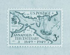 Annapolis Map Vintage Postal Stamp Poster by StoriaPostale Annapolis Maryland, Postage Stamps, History, Handmade Gifts, Naval Academy, Etsy, Maps, Vintage, Sailing