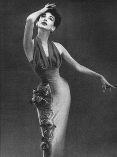 Dorian Leigh for Lilli Ann - 1950's photo print ad dress wiggle halter shelf bust