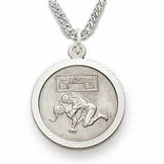 """Sterling Silver 3/4"""" Round Wrestling Medal with St. Christopher on the Back on 20"""" Chain TrueFaithJewelry. $49.95"""