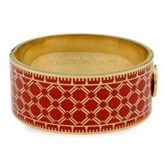 Halcyon Days Harlequin Hinged Bangle, Red/Gold