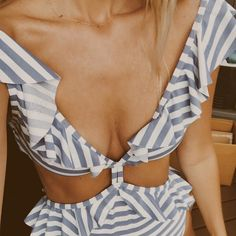 Floralkini Striped Ruffle Deep V Neck One Piece Swimsuit