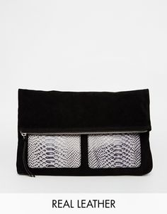 ASOS Suede Foldover with Leather Pocket Clutch Bag