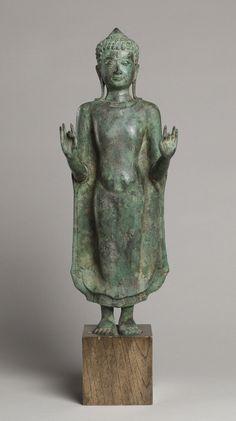 Thailand, Dvaravati period Standing Buddha, century Bronze H. 21 in. Gautama Buddha, Buddha Buddhism, Buddhist Art, Buddha Sculpture, Stone Sculpture, Buddha Statues, Standing Buddha Statue, Art Thai, Theravada Buddhism