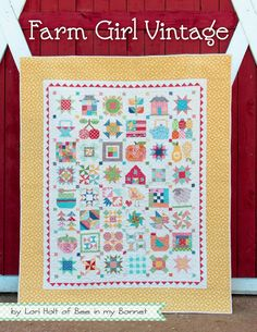 This is the newest quilt book by Lori Holt of Bee in my Bonnet. It features 45 Farm Girl Sampler blocks in 6 and 12 block sizes. Also included are all