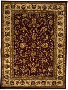 Safavieh Handmade Isfahan Burgundy (Red)/ Ivory Wool and Silk Rug (8' x 11') (Cotton, Border)