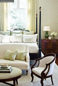 Master Bedroom Inspiration from Phoebe Howard – Blue and White Home Dream Bedroom, Home Bedroom, Bedroom Decor, Pretty Bedroom, Design Bedroom, Bedroom Seating, Bedroom Furniture, Bedroom Ideas, Serene Bedroom