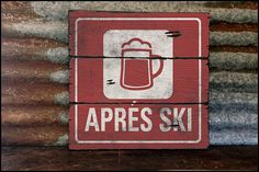 Large Apres Ski-Beer Handcrafted Rustic Wood by AlpineGraphics