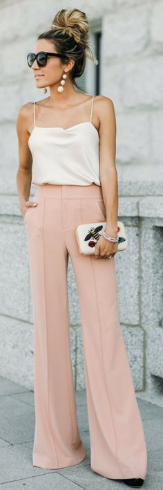 #fall #outfits women's white spaghetti strap top and peach pants