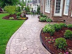 Concrete Sidewalk, Stamped, Cobble Stone  Concrete Walkways  pretty walk way  QC Construction Products  Madera, CA